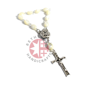 Mother of Pearl 6 x 9 mm Finger Rosary with Latin Cross