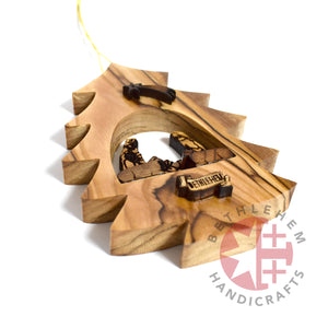 Laser Engraved Olive Wood Nativity Scene Christmas Tree Ornament