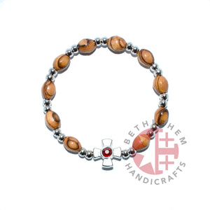 Olive Wood Oval 9*6 mm Beads Bracelet with Garnet Birthstone