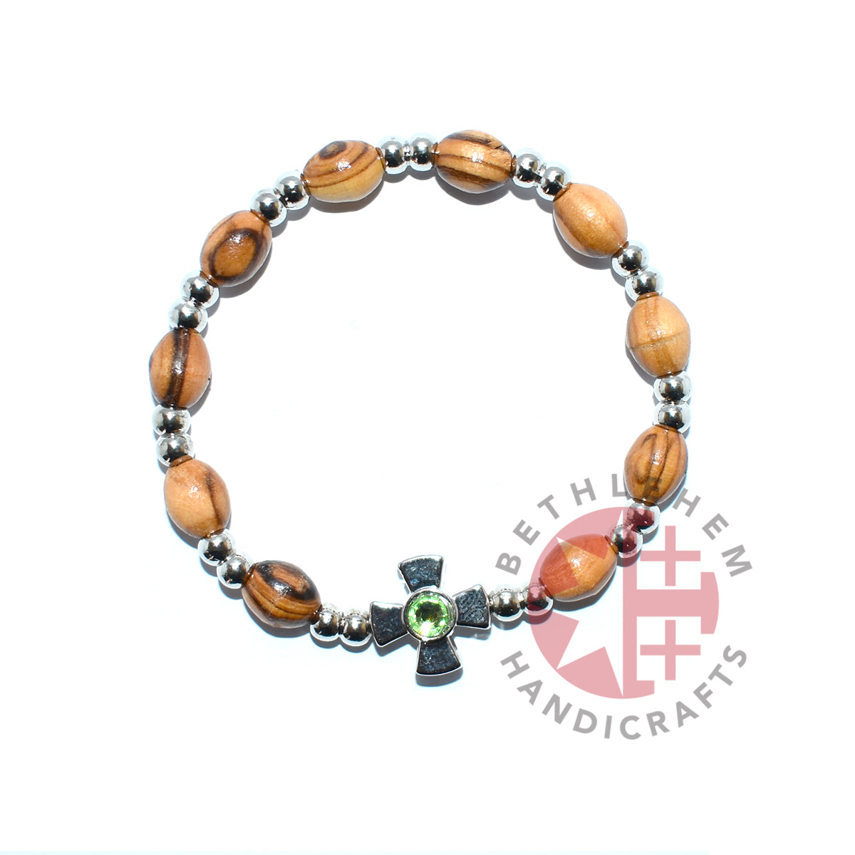 Olive Wood Oval 9*6 mm Beads Bracelet with Peridot Birthstone
