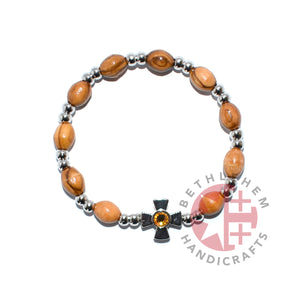 Olive Wood Oval 9*6 mm Beads Bracelet with Citrine Birthstone