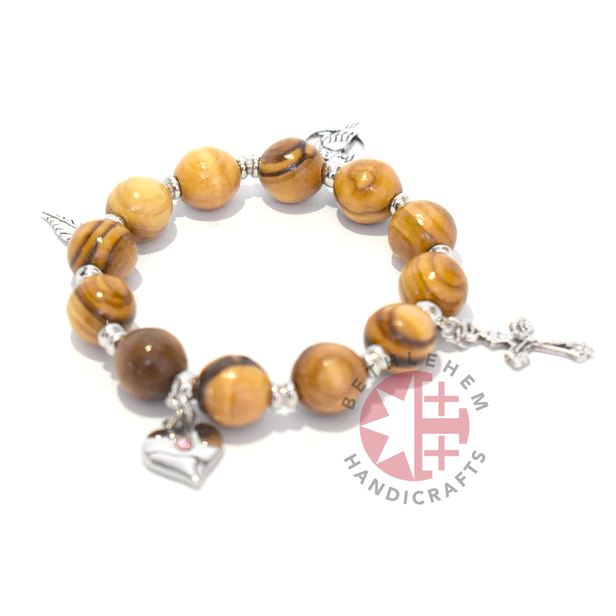 Olive Wood 10 mm round beads Bracelet with 4 silver plated Pendants