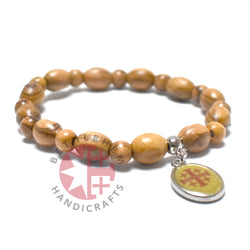 Oval Olive Wood 9*6 mm Beads Bracelet with Jesus Blessing Icon