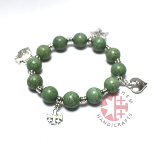 Jade Stone 10 mm Round Beads with 4 Silver Plated Pendants