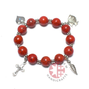 Coral Bracelet Rosary with 4 Silver Plated Pendants