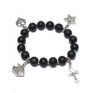 Onyx Black Stone Bracelet Rosary with 4 Silver Plated Pendants
