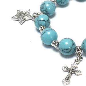 Turquoise Bracelet Rosary with 4 Silver Plated Pendants