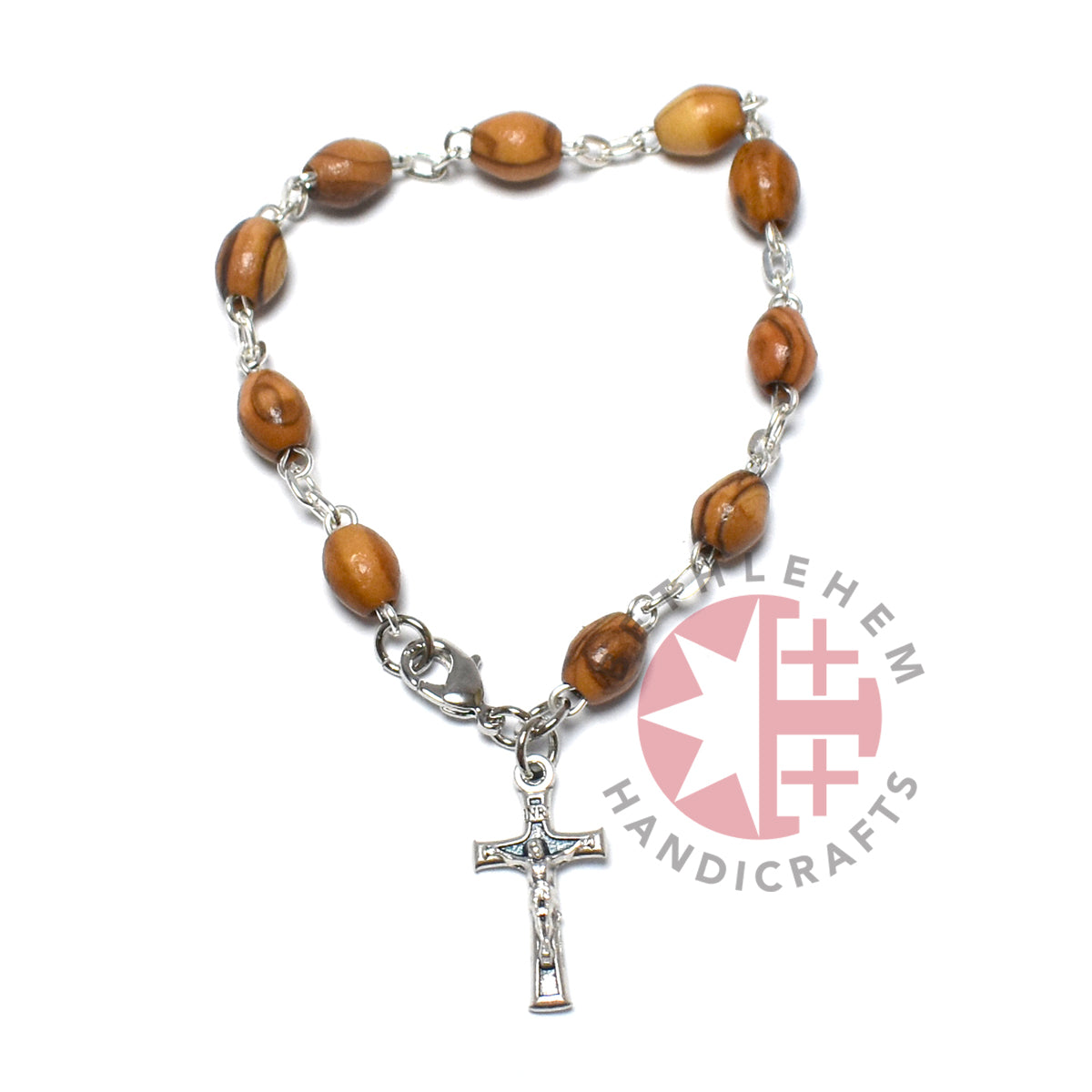 Olive Wood 8*6 mm Bracelet with Cross Pendant