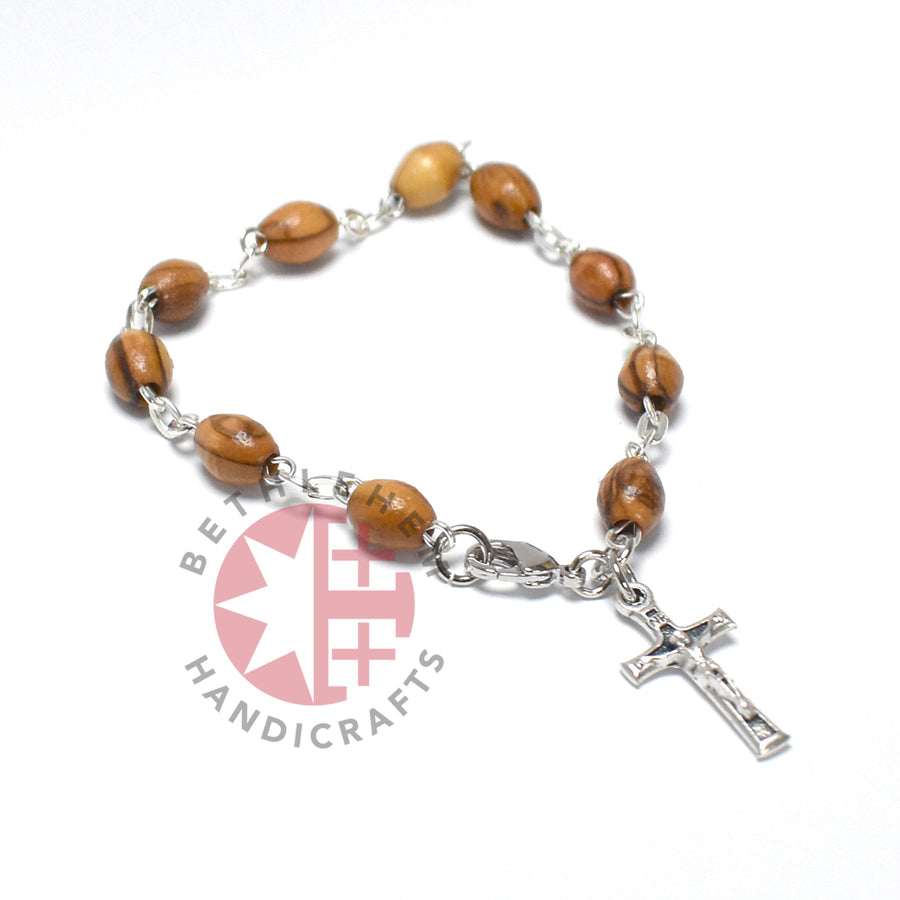 Olive Wood 8*6 mm Rosary Bracelet with Crucifix Pendant