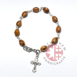 Olive Wood 8*6 mm Rosary Bracelet with Budded Crucifix Pendant