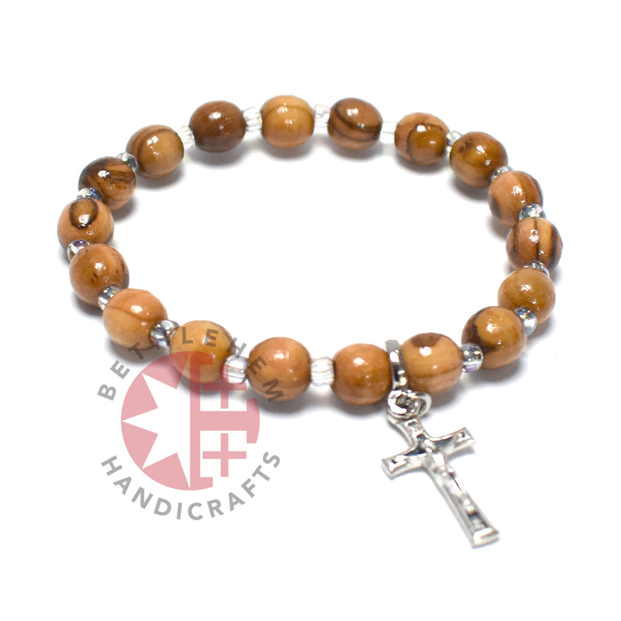 Rounded Olive Wood 6 mm Beads Bracelet with Crucifix Pendant
