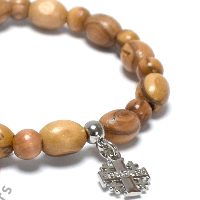 Oval Olive Wood 9*6 mm Beads Bracelet with Jerusalem Cross Pendant