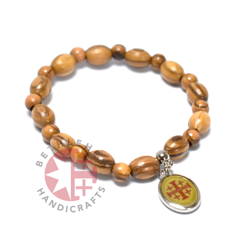 Oval Olive Wood 9*6 mm Beads Bracelet with Jesus Face Icon