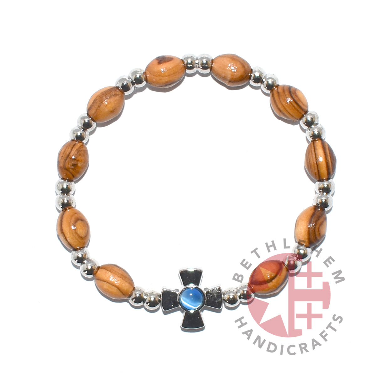Olive Wood Oval 9*6 mm Beads Bracelet with Blue Zircon Birthstone