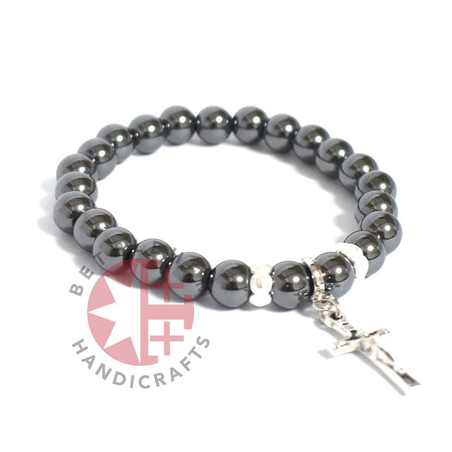 Praying Bracelet 8mm Hematite beads with Silver Plated Cross