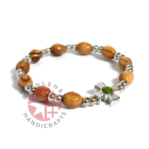 Olive Wood Oval 9*6 mm Beads Bracelet with Emerald Birthstone