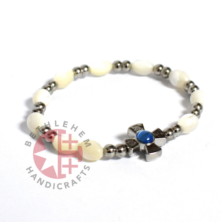 Mother of Pearl Bracelet 8*6 mm Beads (Blue Zircon Crystal Stone)