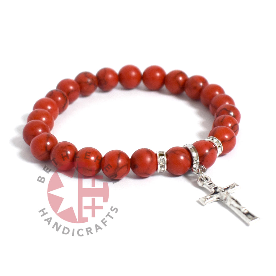 Coral Praying Bracelet 8mm Beads with Silver Plated Cross