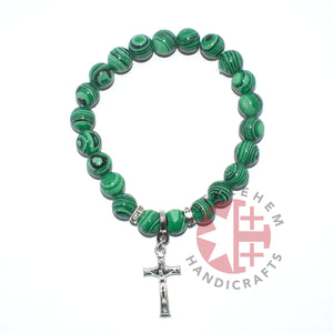 Malachite Stone 8mm Rosary Bracelet with a Cross Pendant