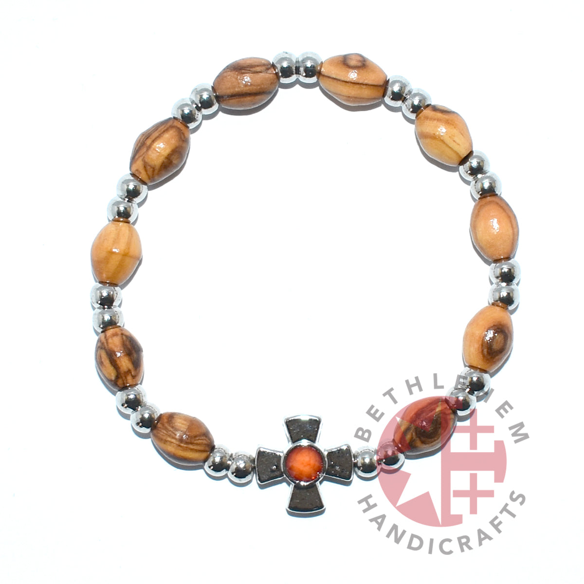 Olive Wood 6 x 9 mm oval beads Bracelet with Metal Cross