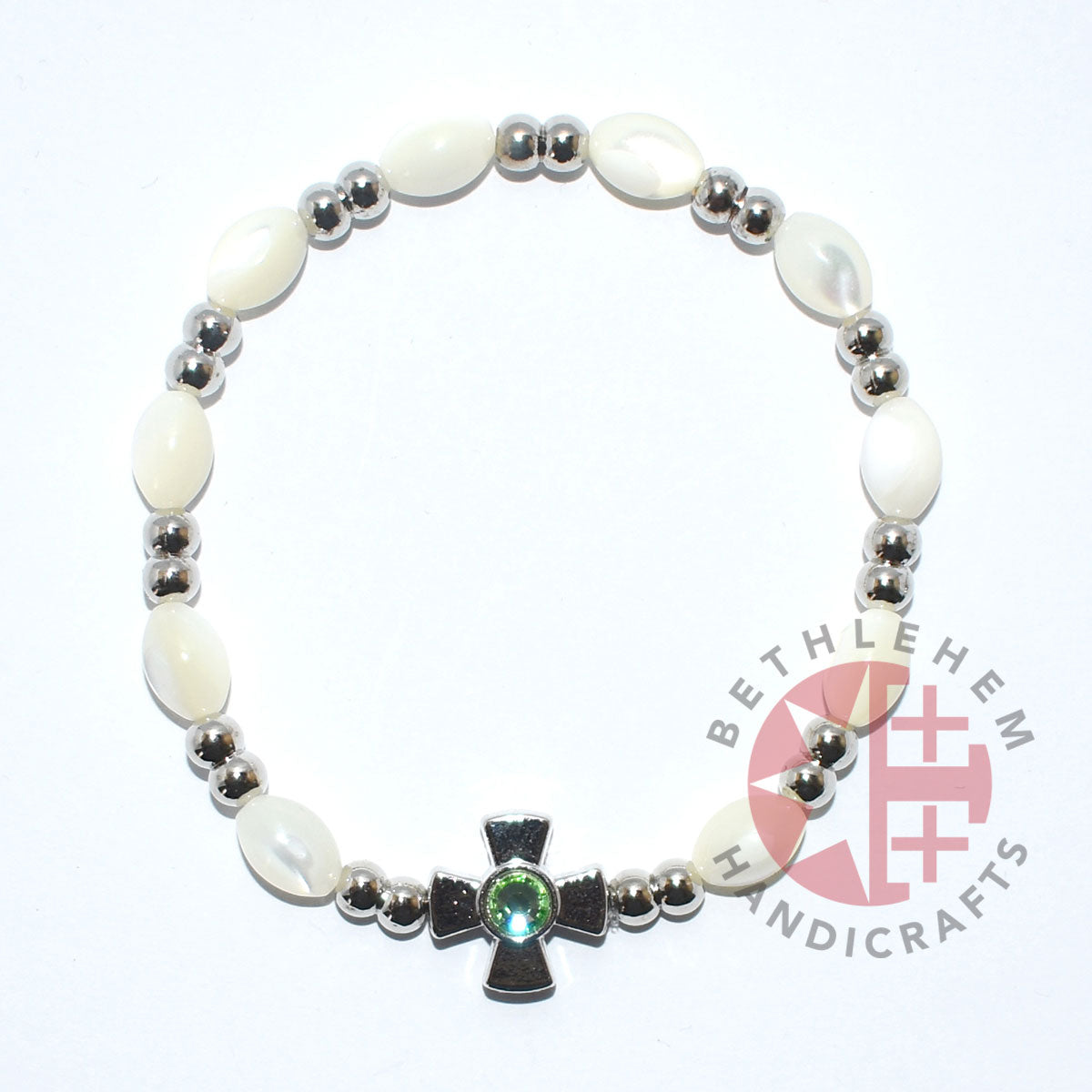 Mother of Pearl Bracelet 8*6 mm Beads (Peridot Crystal Stone)