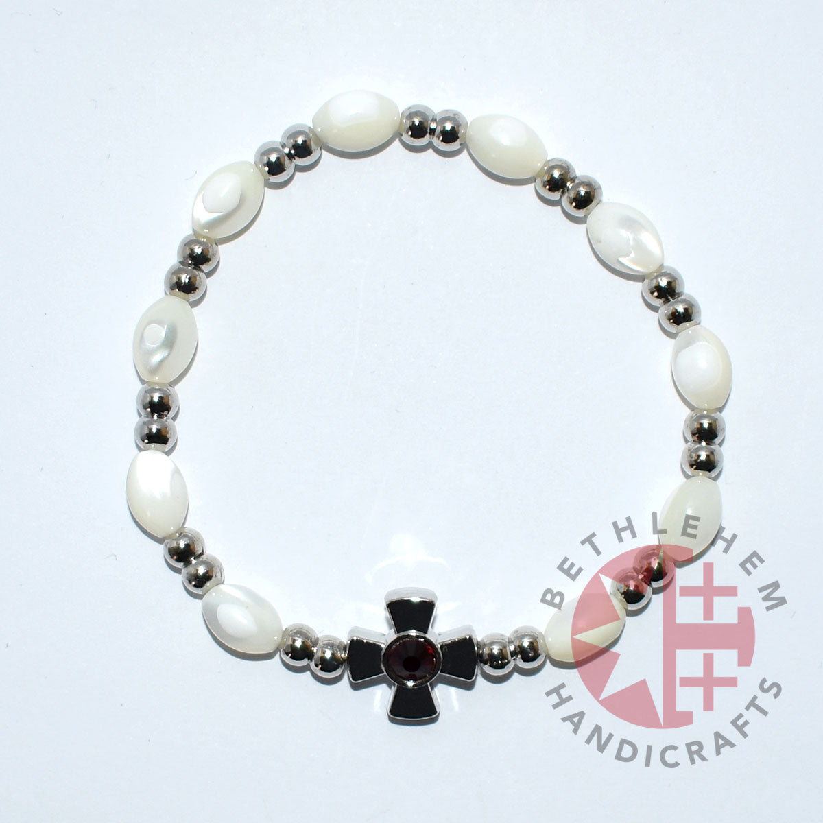 Mother of Pearl Bracelet 8*6 mm Beads (Garnet Crystal Stone)