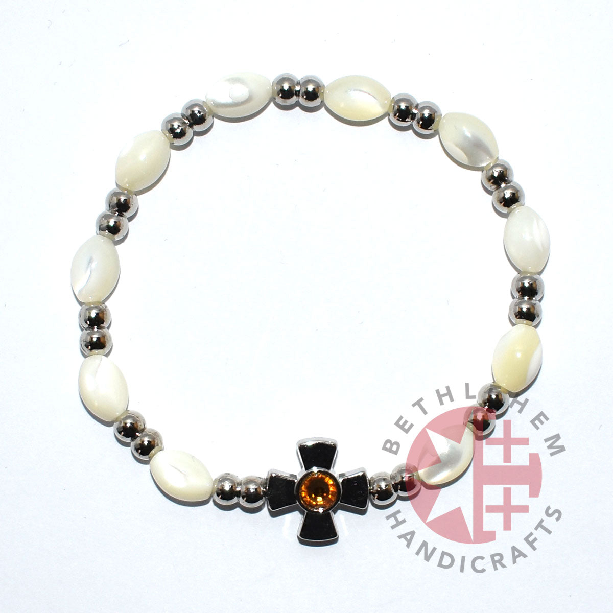 Mother of Pearl Bracelet 8*6 mm Beads (Citrine Crystal Stone)