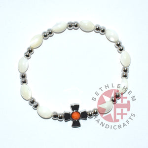 Mother of Pearl Bracelet 8*6 mm Beads (Orange Crystal Stone)