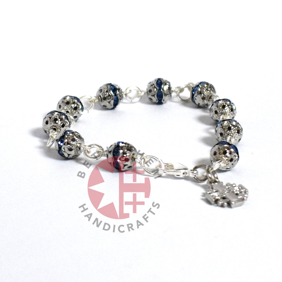 Blue Jerusalem Cross Crystal Prayer 6mm Bracelet