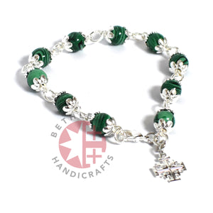 Emerald Green 6mm Rosary Bracelet
