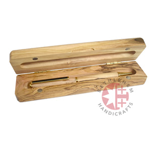 Olive Wood Ballpoint Pen with 'Jerusalem' Display Box