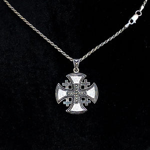 Sterling Silver Alisee Pattee Jerusalem Cross Necklaces with Gemstones (L) - Jewelry - Bethlehem Handicrafts