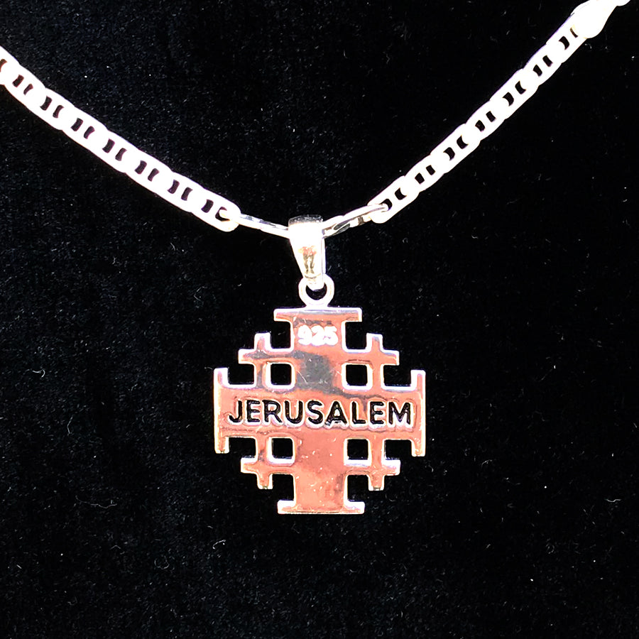 Polished Sterling Silver Potent Jerusalem Cross Necklaces (L) - Jewelry - Bethlehem Handicrafts