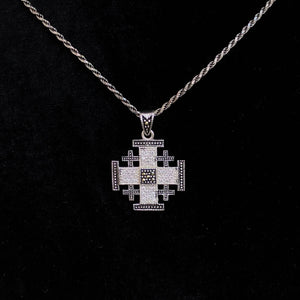 Sterling Silver Potent Jerusalem Cross Necklaces with Gemstones (L) - Jewelry - Bethlehem Handicrafts