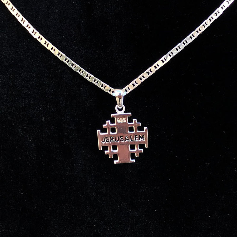 Polished Sterling Silver Potent Jerusalem Cross Necklaces (S) - Jewelry - Bethlehem Handicrafts