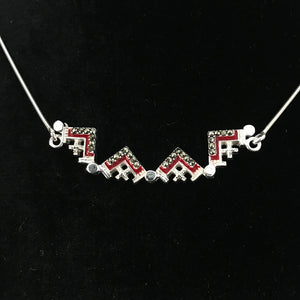 Dark Red Two-Way Magnetic Jerusalem Cross Necklace with Gemstones - Jewelry - Bethlehem Handicrafts