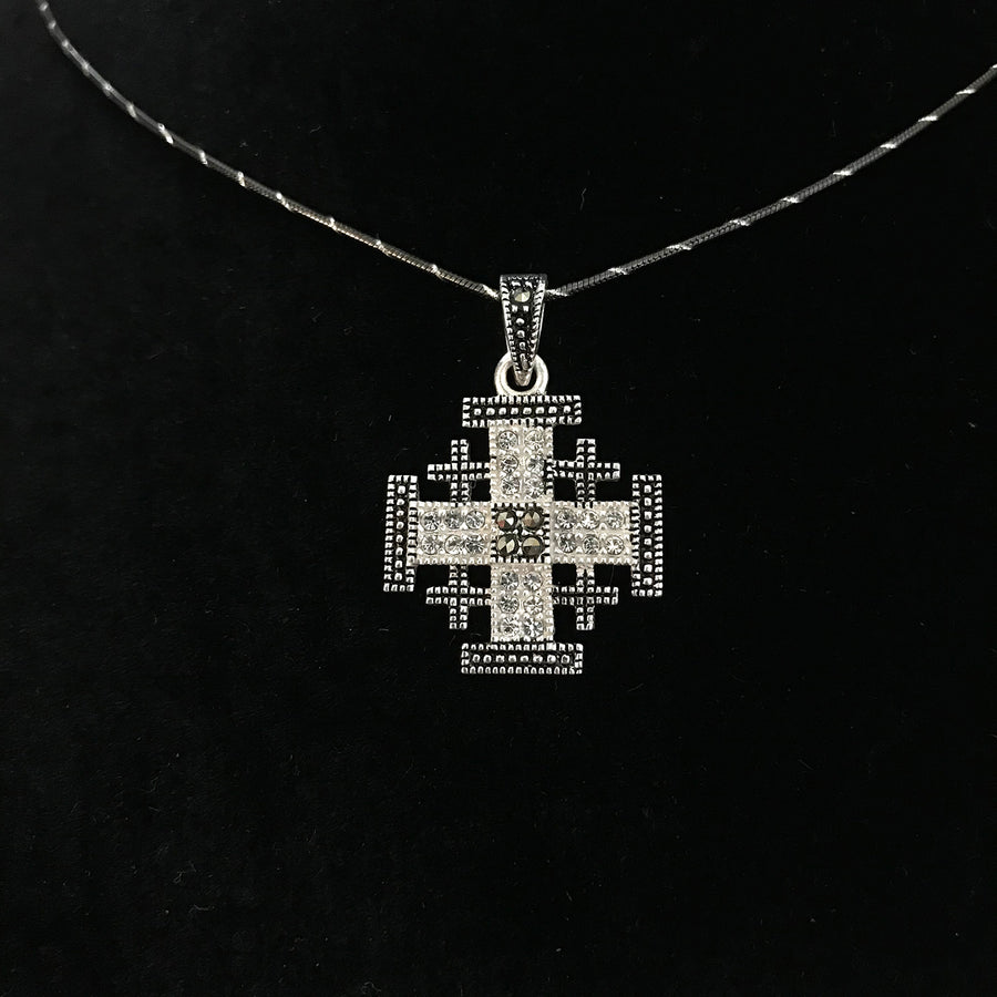 Sterling Silver Potent Jerusalem Cross Necklaces with Gemstones (S) - Jewelry - Bethlehem Handicrafts