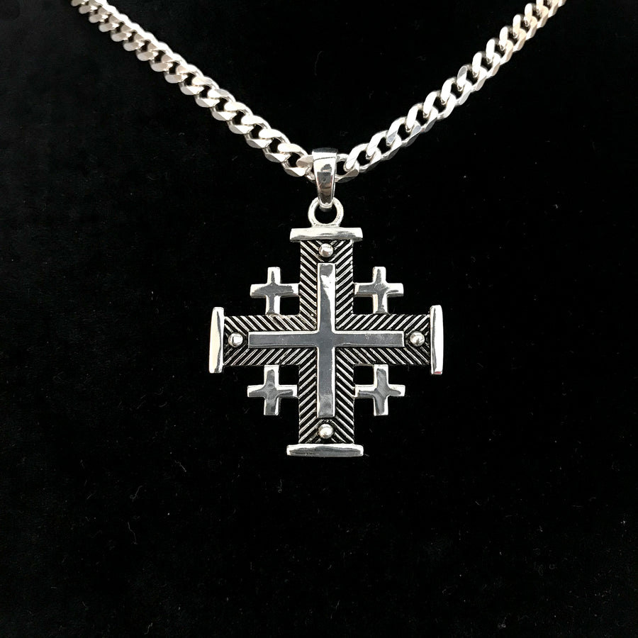 Sterling Silver Potent Jerusalem Cross Necklaces (L) - Jewelry - Bethlehem Handicrafts