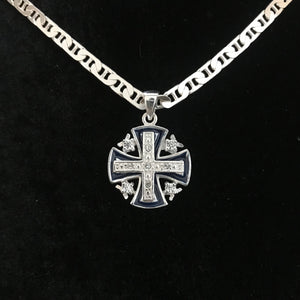 Dark Blue Jerusalem Cross Necklace with White Gemstones - Jewelry - Bethlehem Handicrafts