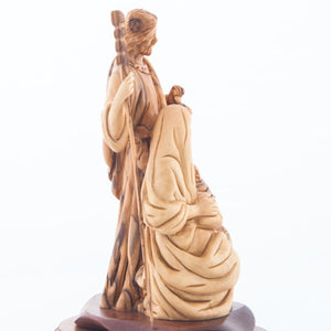 Carved Wooden Statue of The Holy Family Holding a Lamp with Base - Statuettes - Bethlehem Handicrafts