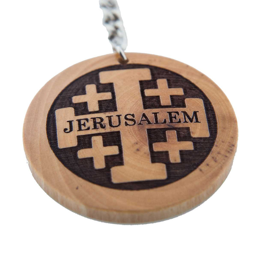 Rounded Olive Wood Keychain of Jerusalem Cross