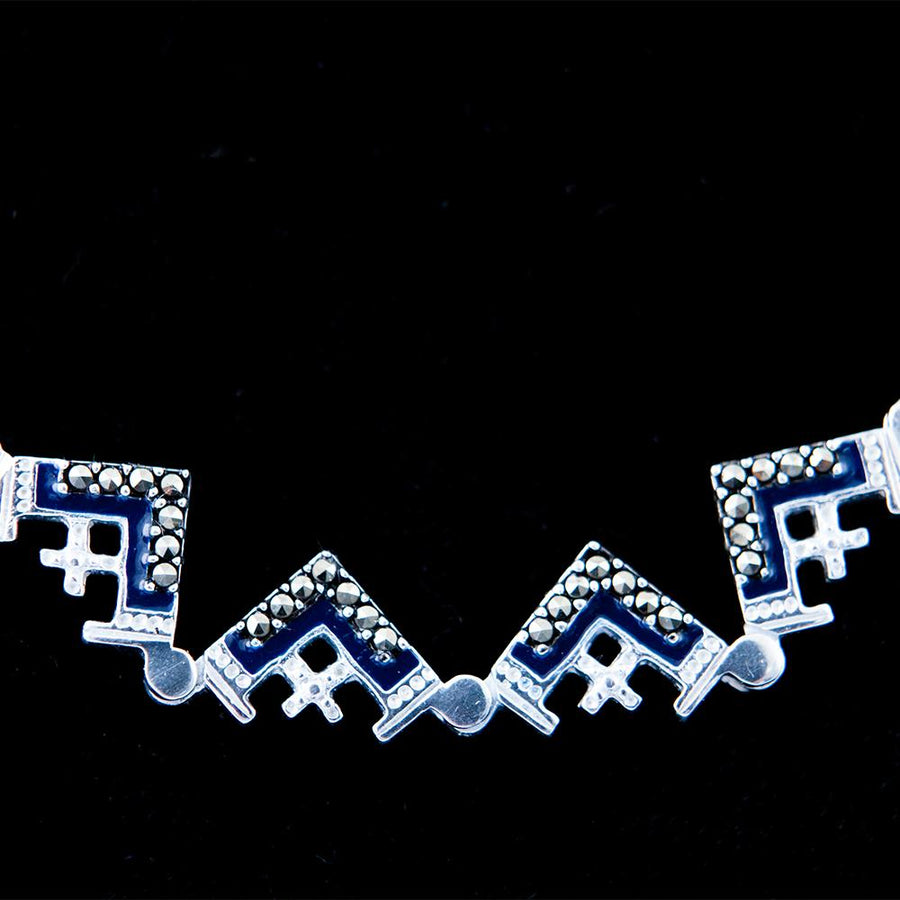 Dark Blue Two-Way Magnetic Jerusalem Cross Necklace
