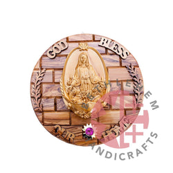 Olive Wood Our Lady of Grace Wall Hanging Plaque with Holy Land Incense - Wall Hangings - Bethlehem Handicrafts