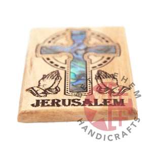 Mother of Pearl Celtic Cross on Olive Wood Magnet