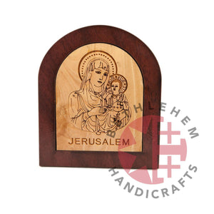Olive Wood Virgin Mary with the Holy Child Plaque - Wall Hangings - Bethlehem Handicrafts