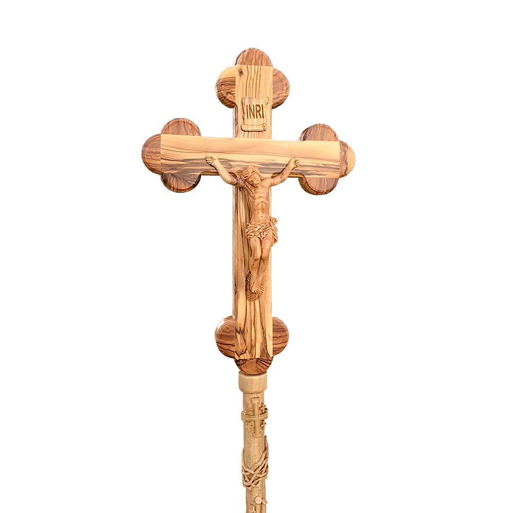 Olive Wood Processional Cross/Crucifix - Specialty - Bethlehem Handicrafts
