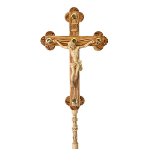 Olive Wood Hand Carved Processional Cross/Crucifix - Specialty - Bethlehem Handicrafts