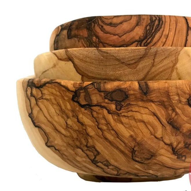 Square Olive Wood Bowls (Set of 3) - Home & Office - Bethlehem Handicrafts