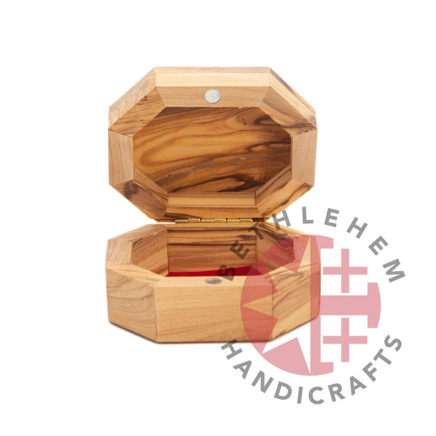 Octagon Hand Carved Jesus Christ Olive Wooden Box (Jerusalem)