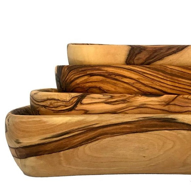 Teak Rectangle Olive Wood Bowls (Set of 4) - Home & Office - Bethlehem Handicrafts